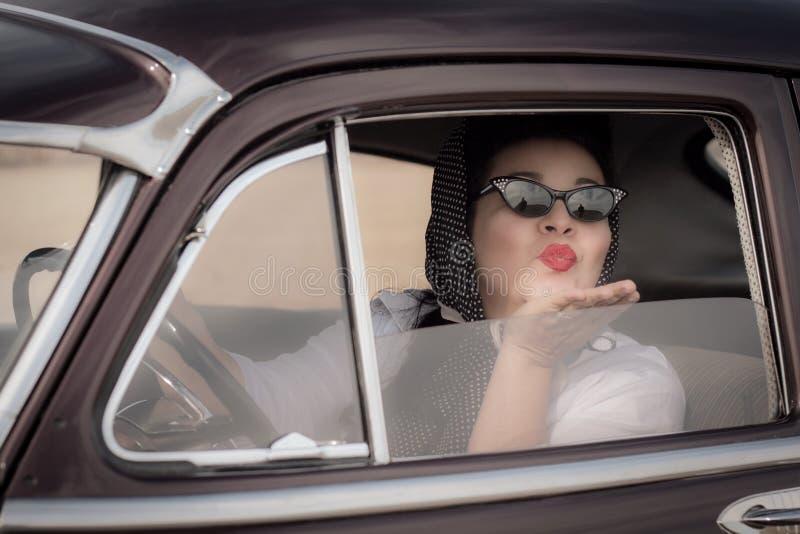 Beijo do vintage adeus foto de stock