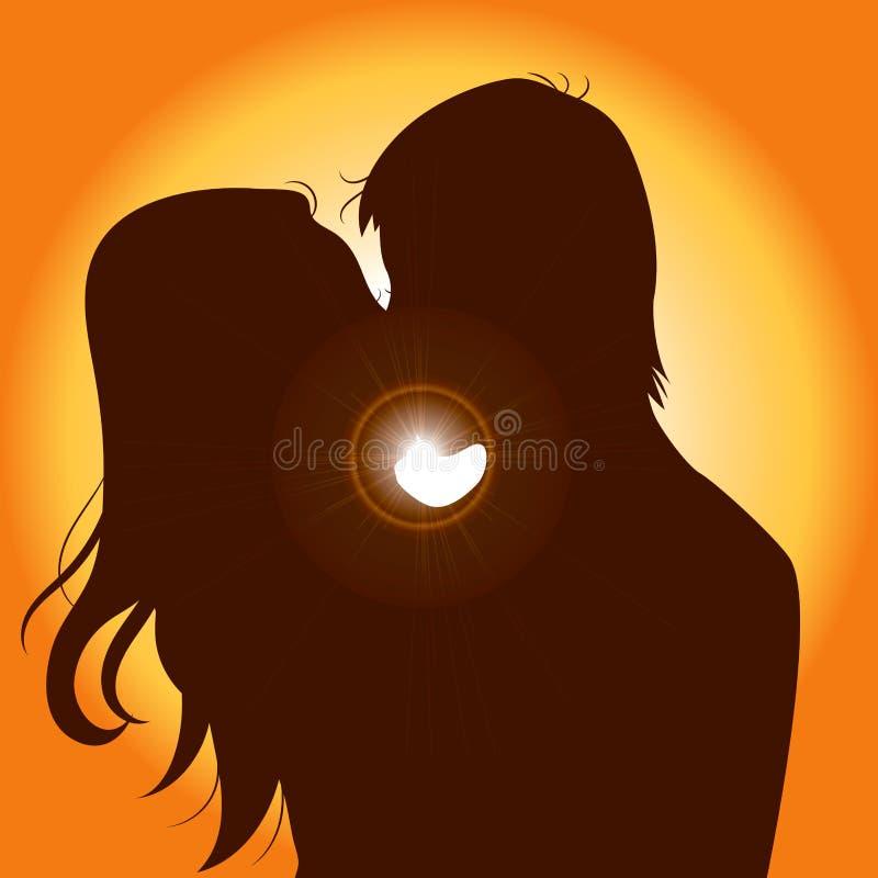Beijo dos pares da silhueta do por do sol ilustração royalty free