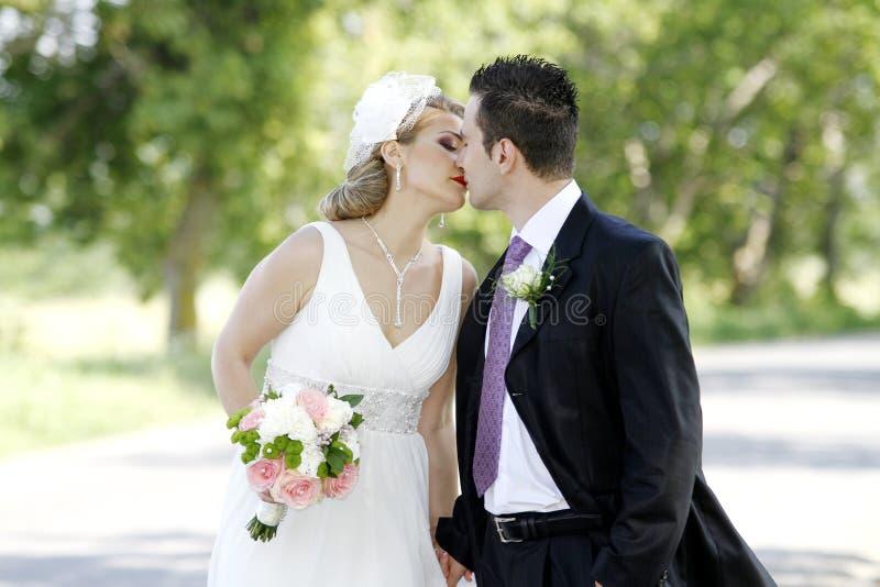 Beijo dos pares do casamento fotos de stock royalty free