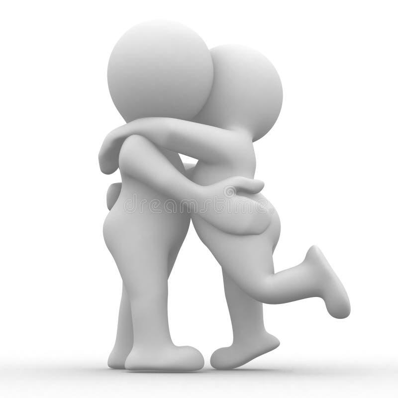 Beijo e hug ilustração stock