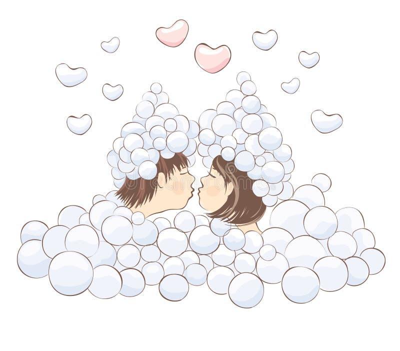 Beijo na espuma ilustração do vetor