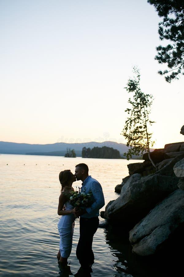 Beijo no lago fotos de stock