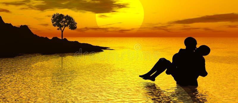 Beijo no por do sol ilustração royalty free