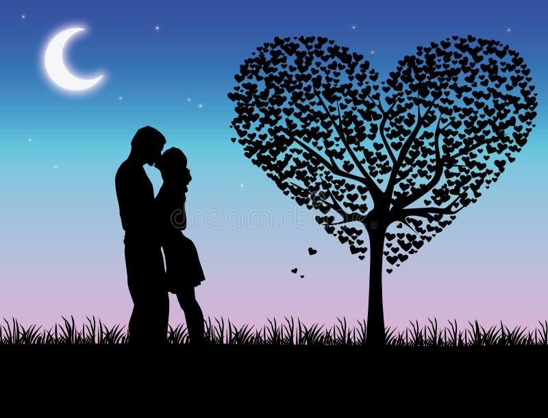 Beijo no por do sol ilustração stock