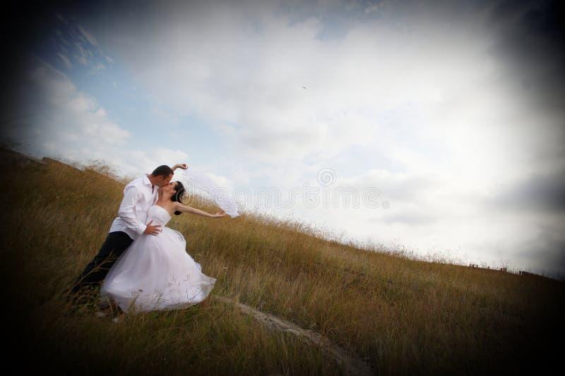 Beijo nupcial (beijo da noiva e do noivo) imagem de stock