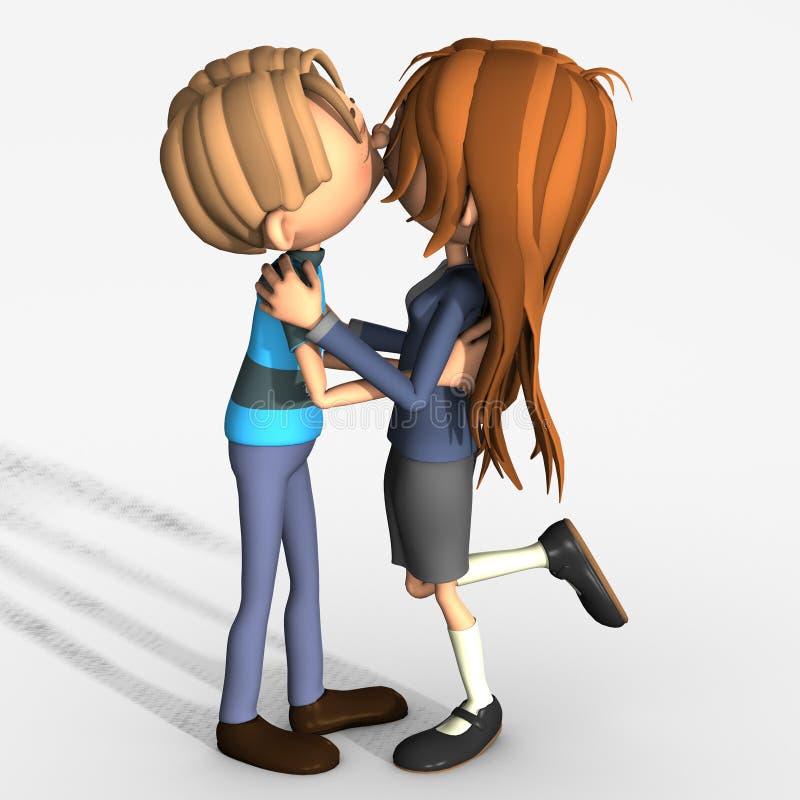 Beijo romântico dos pares ilustração royalty free