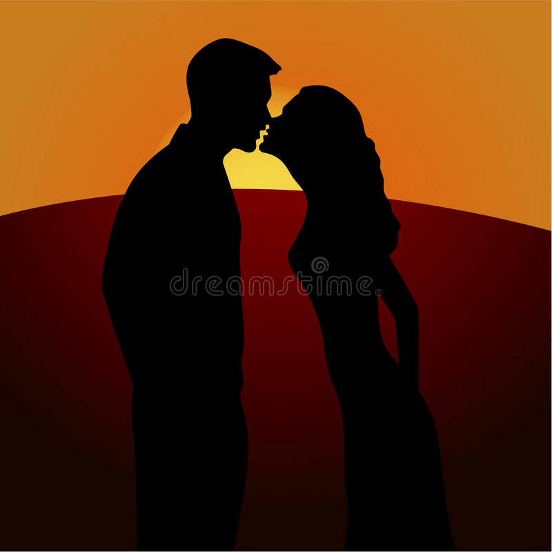 Beijo romance ilustração do vetor
