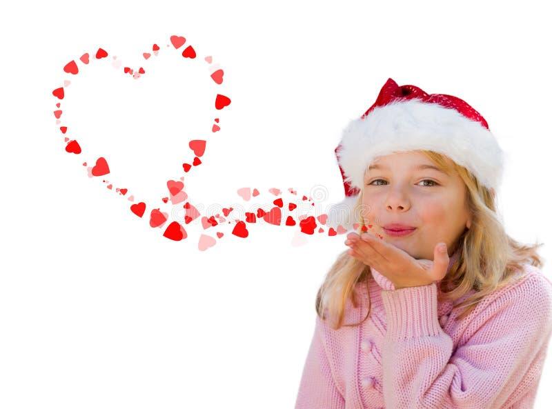 Beijos de sopro do coração do amor da menina imagem de stock