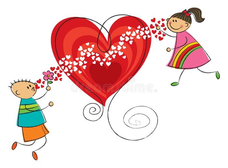 Beijos de sopro do menino à menina ilustração royalty free