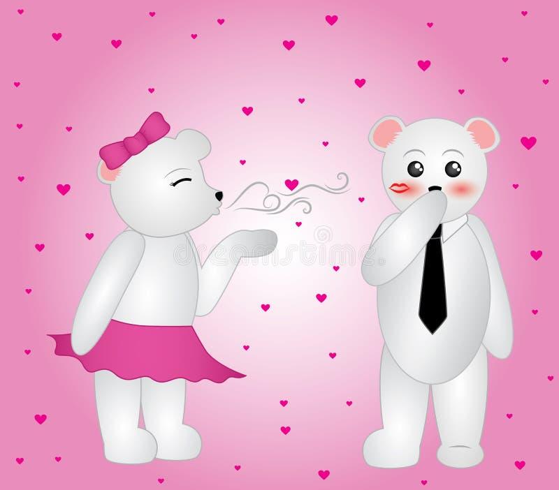 Beijos de sopro do urso polar ilustração do vetor