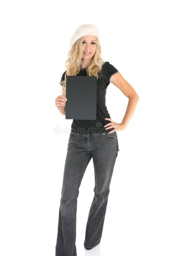 Beiläufige Frau mit Zeichen stockfoto