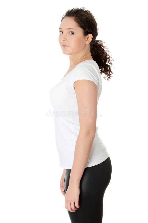 Beiläufige junge corpulent Frau stockbilder