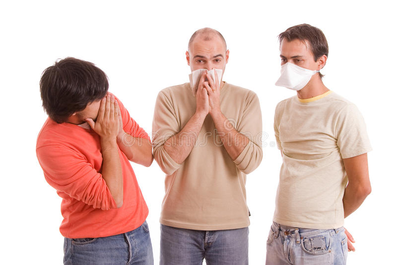 Beiläufige Männer mit Grippe lizenzfreies stockbild