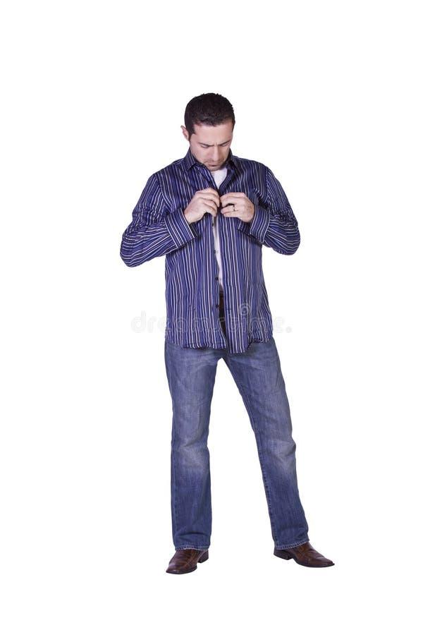 Beiläufiger Mann, der oben ankleidet lizenzfreies stockfoto
