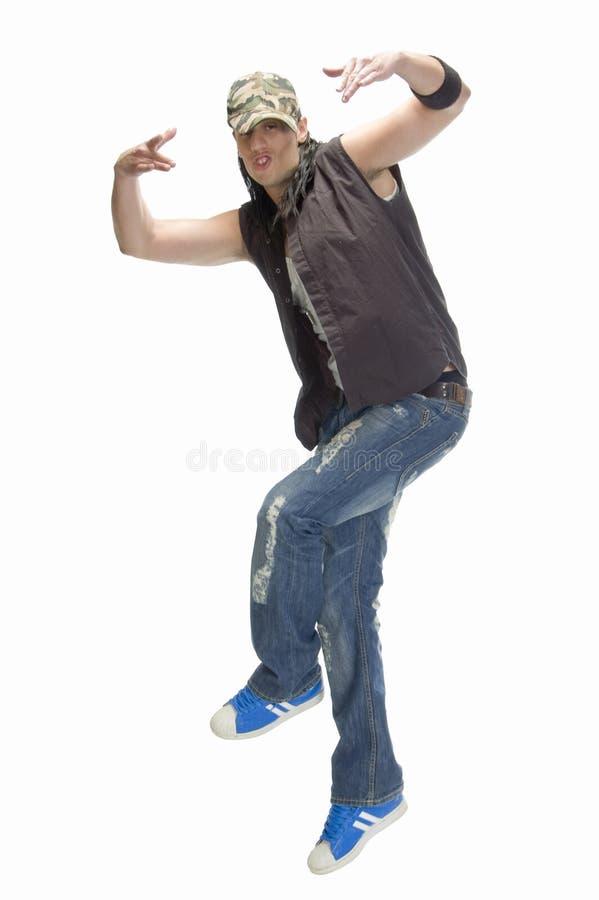 Beiläufiger Mann, der Tanz tut stockfotografie
