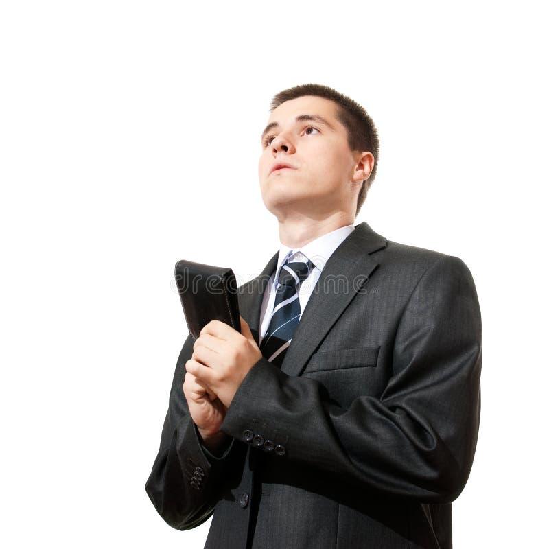 Beiläufiger Mannholdingfonds und Bitten um um des Gehaltsgeldes stockfotografie
