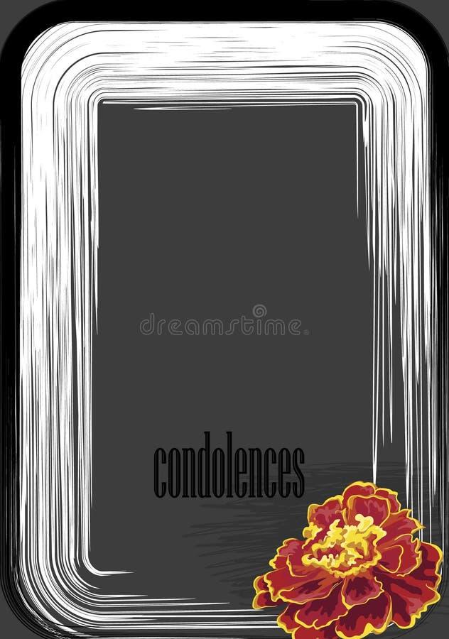 Beileid auf einem dunkelgrauen Hintergrund, eine Blume einer Ringelblume lizenzfreie abbildung
