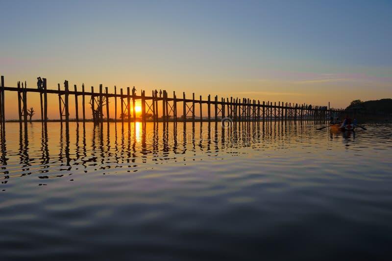 bein桥梁曼德勒缅甸u 免版税库存图片