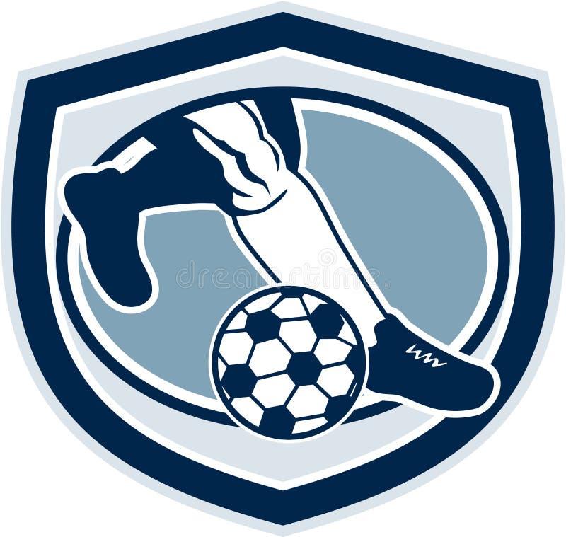 Bein-Fuß das Fußball-Schild tretend Retro- lizenzfreie abbildung