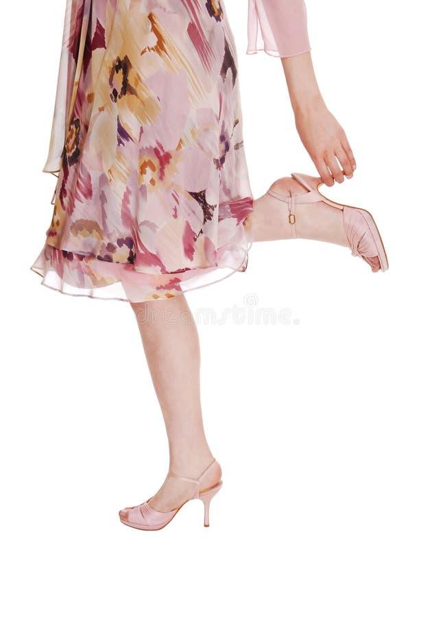 Beine im Kleid. lizenzfreie stockfotografie