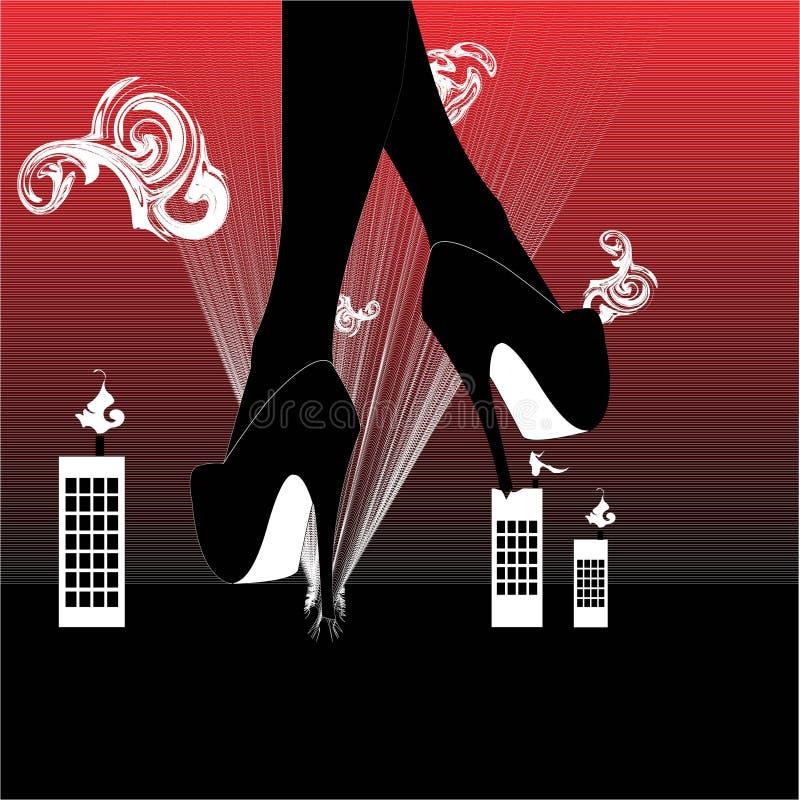 Beine mit hohen Absätzen über der Stadt, Vektorillustration stock abbildung