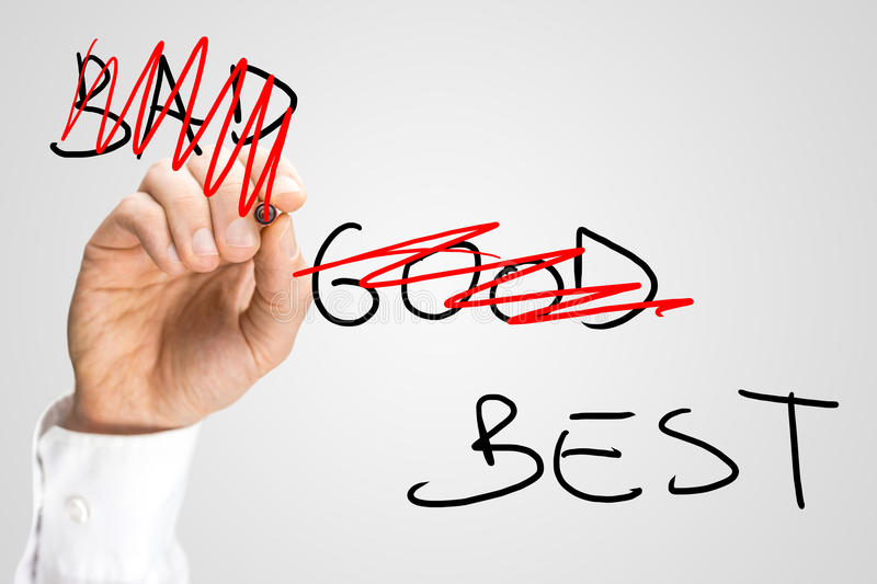 Being the best. Conceptual image with words Bad and Good being doodled with red pen leaving only word Best. Concept of best service or business offer stock photos
