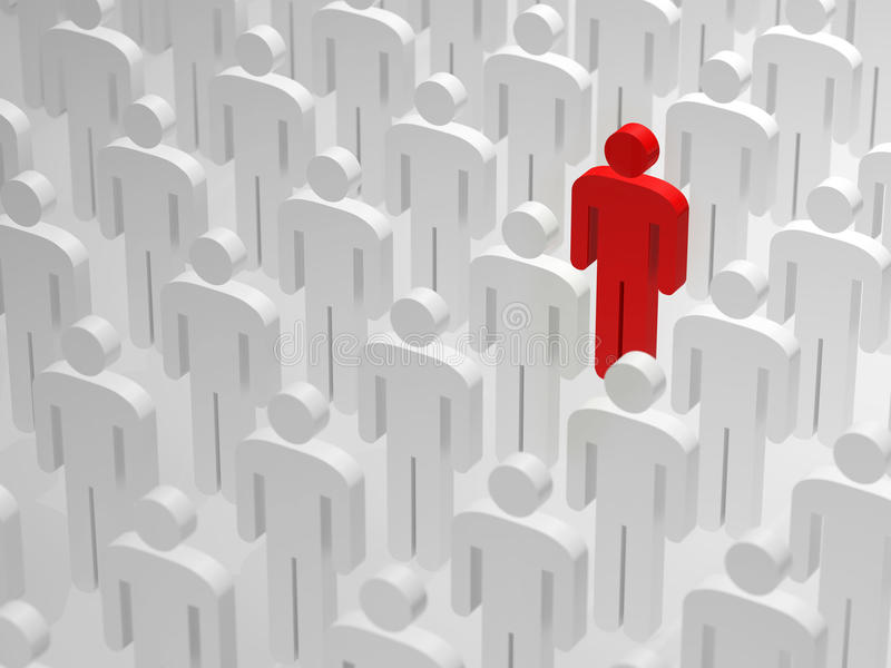 Being different and standing out from the crowd. Red guy is being different and is standing out from the crowd. Concept for someone like a company standing out stock illustration