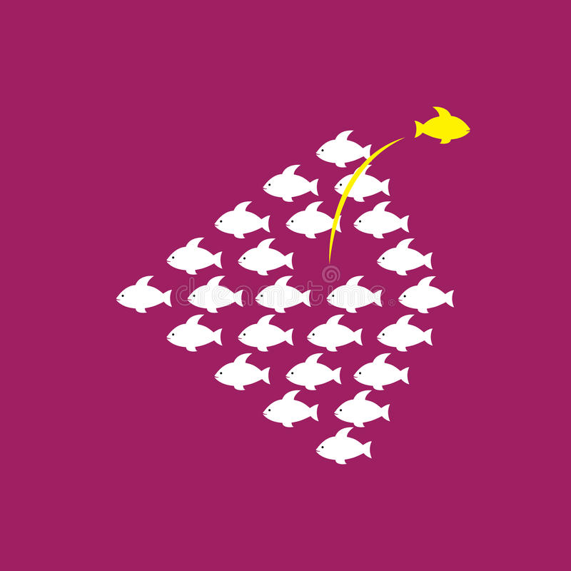 Being different, taking risky, bold move for success in life - C royalty free illustration