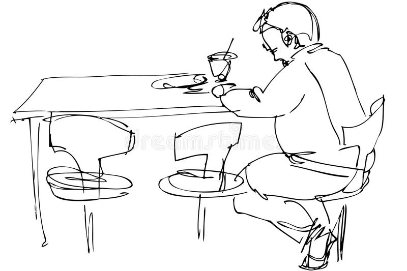 Being fellow at a table on a chair in a cafe. Sketch of being fellow at a table on a chair in a cafe vector illustration