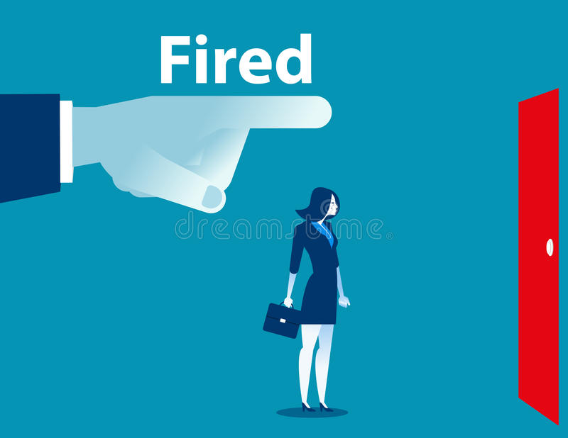 Being fired. Managers fingers showing the exit door to a businesswoman. Concept business illustration. Vector flat. vector illustration
