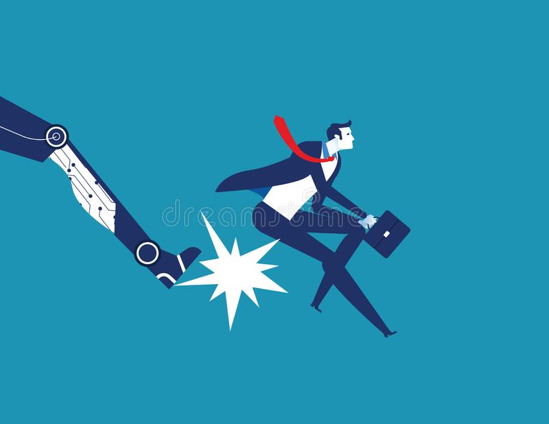 Being fired. Robot foot kicking an employee. Concept business technology vector illustration stock illustration