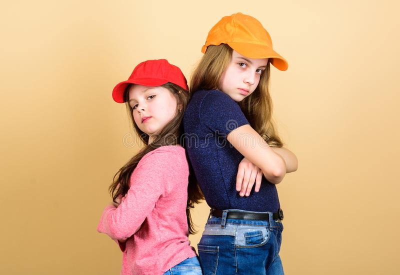 Being a hipster. Adorable little hipsters. Little children wearing hipster style clothing and accessories. Cute small royalty free stock photography