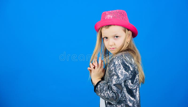 Being a hipster girl. Adorable little hipster. Little child wearing hipster style clothing and accessories. Cute small royalty free stock photography