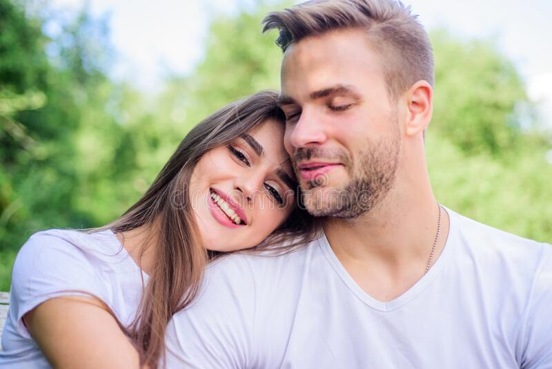 Being in love. happy valentines day. summer vibes. family weekend. romantic date. couple relax outdoor. Tender feeling. Couple in love. Skin and hair care stock photos