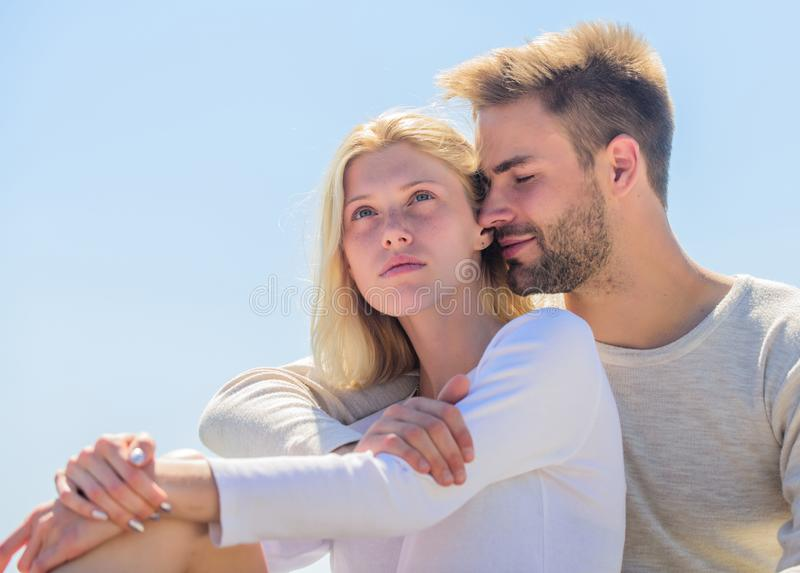 Being in love. understanding and support. romantic relationship. couple in love. married in heaven. man and girl smiling. Being in love. understanding and stock photos