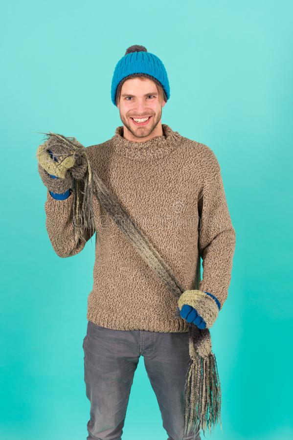 Being in playful mood. men knitted cloth and accessory. male blue background. poor homeless man. cheerful man feeling. Being in playful mood. man knitted cloth stock photography