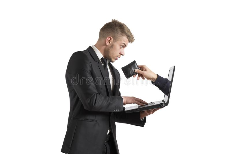 Being robbed by a scam. Concept of being robbed by a scam stock photography