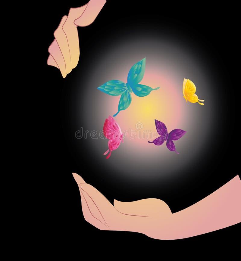Download Being Shone Sphere With Butterflies In Hands Stock Vector - Image: 29458116