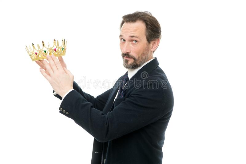 Being successful. Mature businessman holding crown. Business king. Success in business. Achieving victory and success stock photography