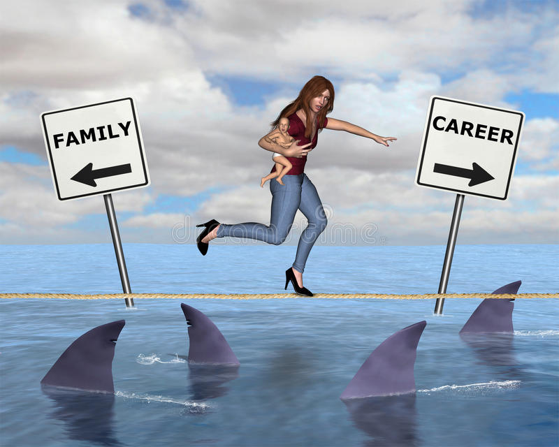 Being a Woman, Career Mom. Being a woman offers many challenges in life. Juggling a job, career, family, and babies can be difficult and tough. This illustration