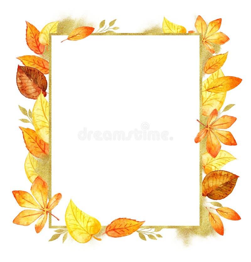 Beira alaranjada isolada aquarela da folha de Autumn Leaves Fall Frame Template formulários do brilho do ouro Molde para projetos ilustração stock