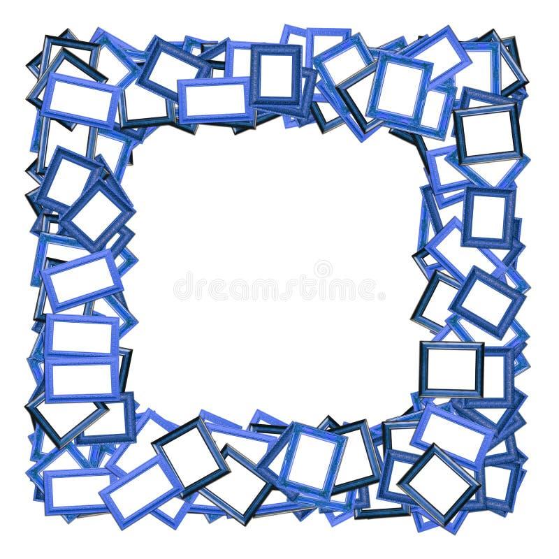 Beira azul do frame da foto no branco ilustração stock