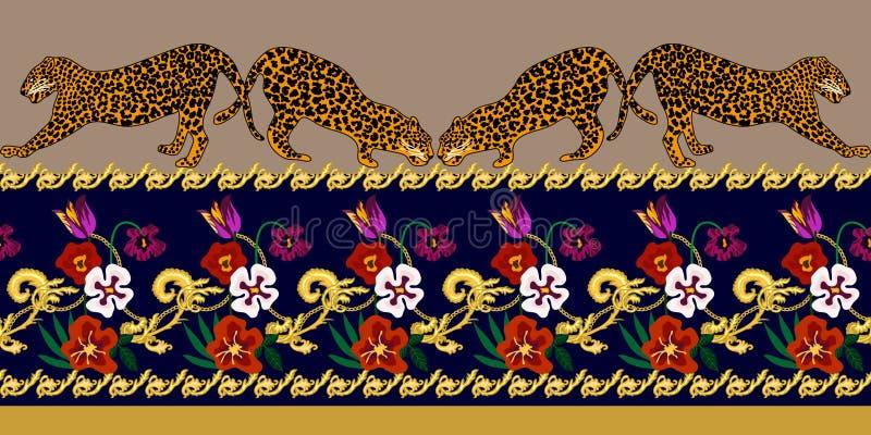 Beira barroco com leopardos e elementos da joia ilustração royalty free