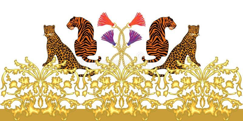 Beira barroco com leopardos e tigres ilustração stock