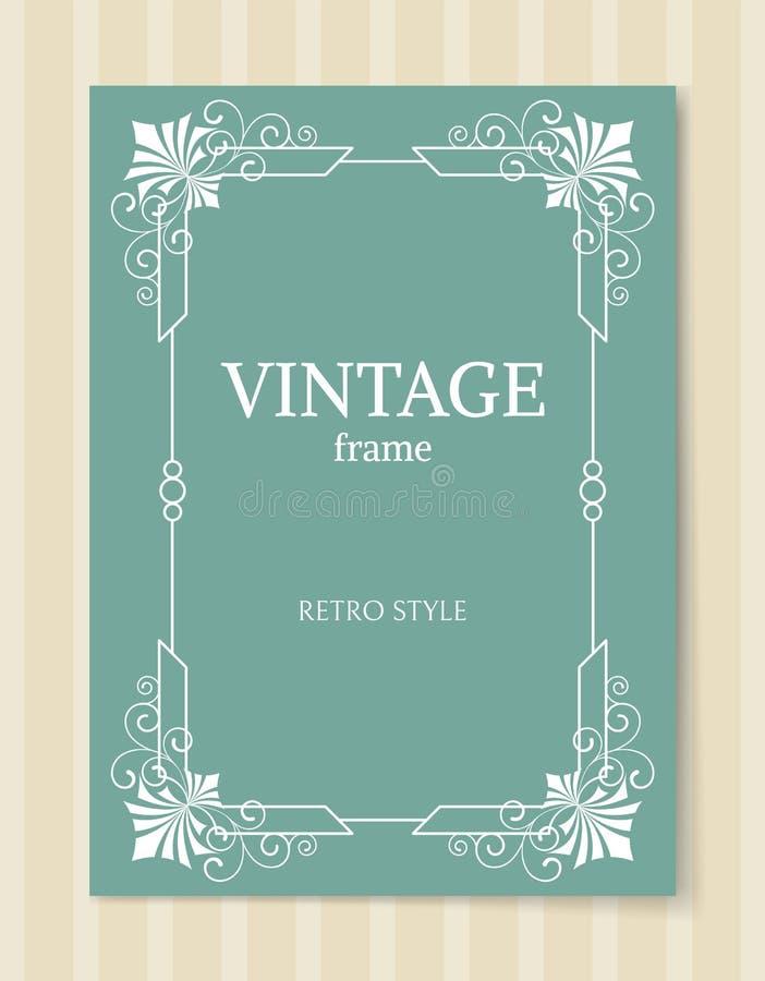 Beira branca do estilo retro do quadro do vintage isolada ilustração royalty free