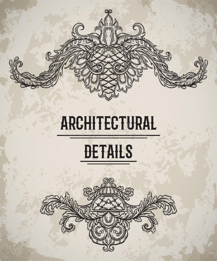 Beira clássica barroco do estilo Cartouche antigo Elementos arquitetónicos do projeto de detalhes do vintage no fundo do grunge ilustração stock