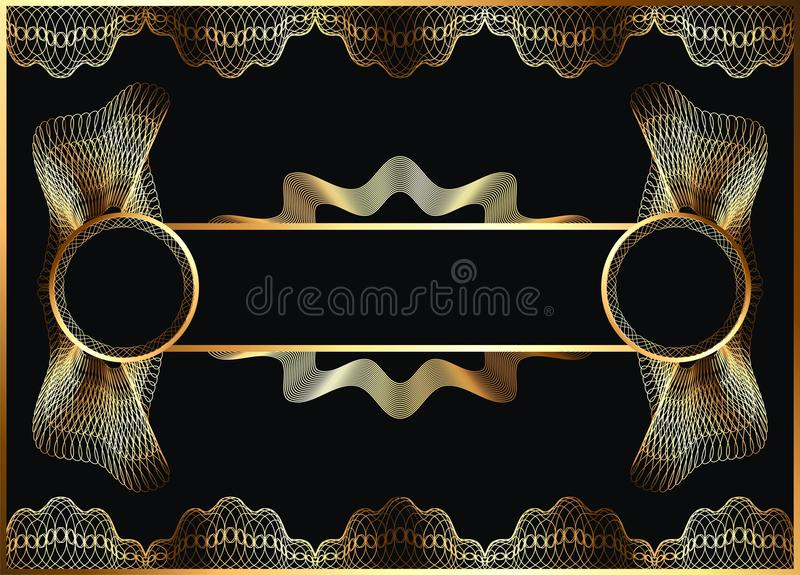 Beira clássica do guilloche para o diploma ou o certificado ilustração royalty free