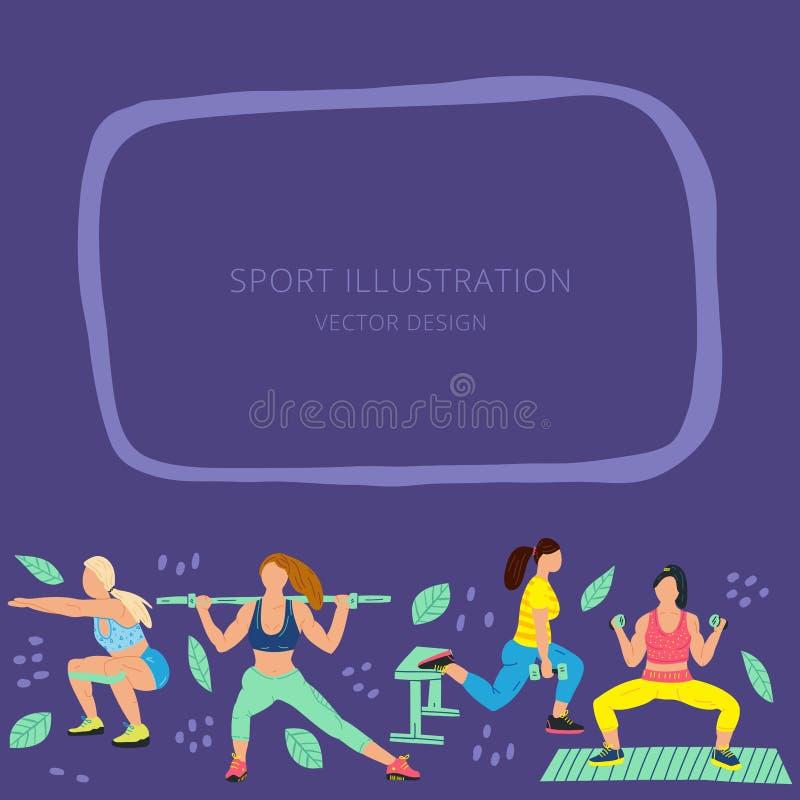 Beira com as meninas na roupa e nas flores dos esportes Exercício, ilustração lisa tirada mão de formação Pode ser usado na propa ilustração stock