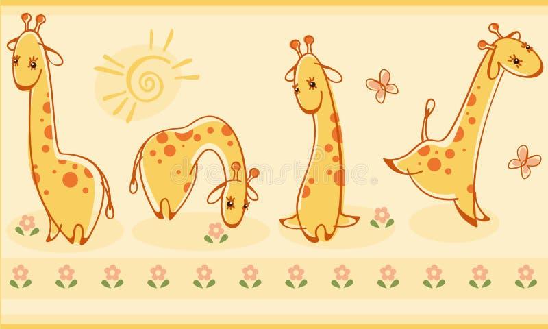 Beira com giraffes. ilustração do vetor