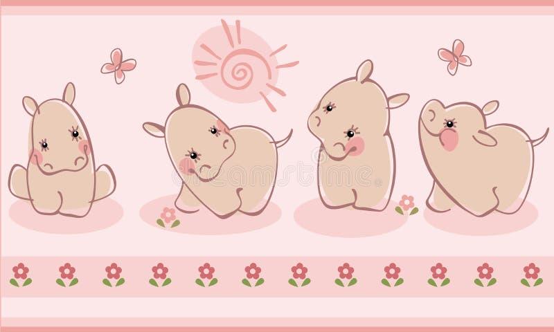 Beira com hippopotamuses ilustração stock